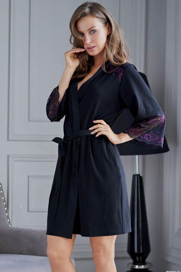 Элегантный женский халатик Roberta с кружевом