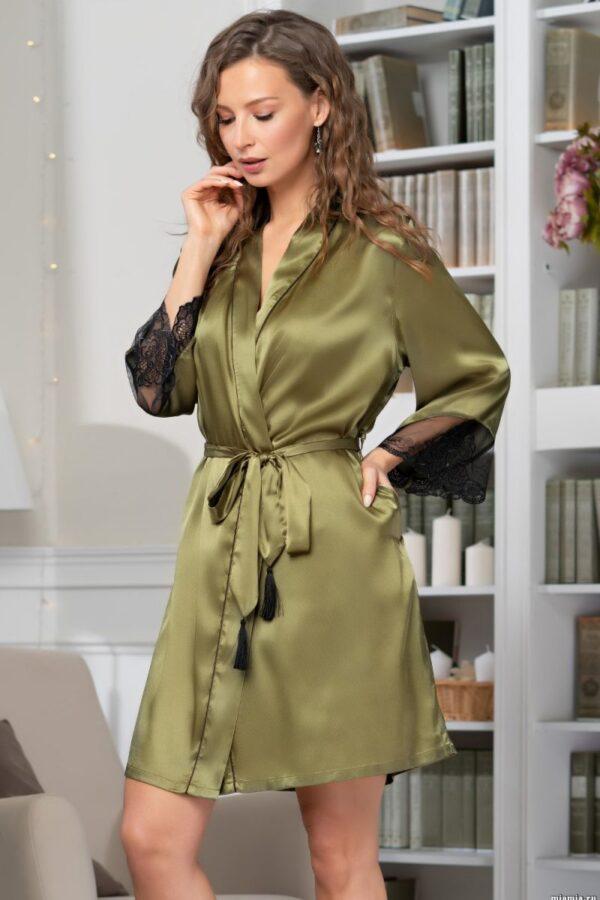 Шелковый халатик Olivia с поясом