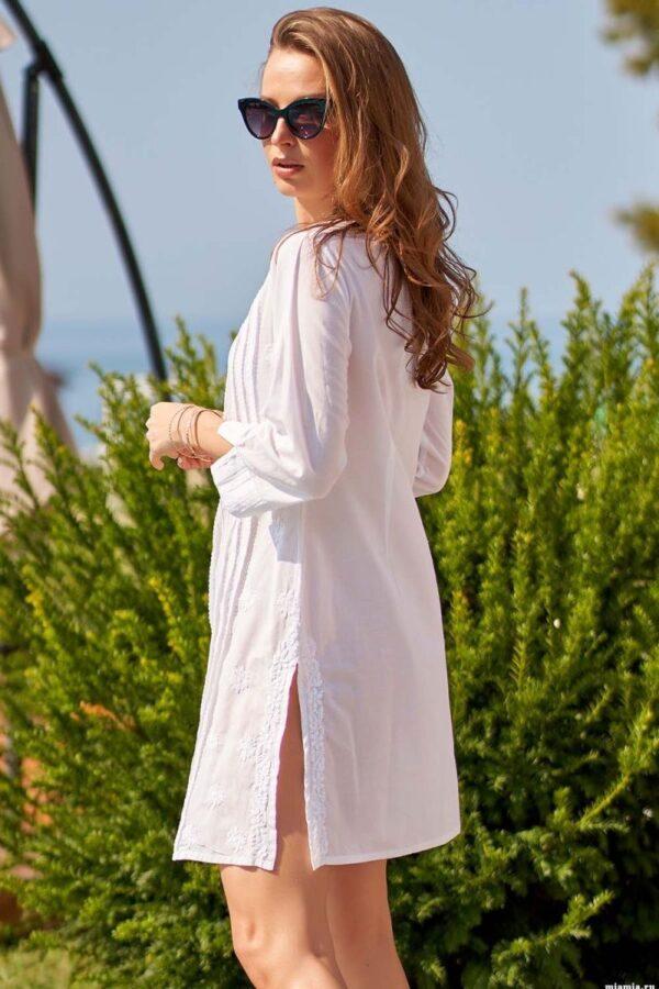 Легкая пляжная рубашка-туника с вышивкой