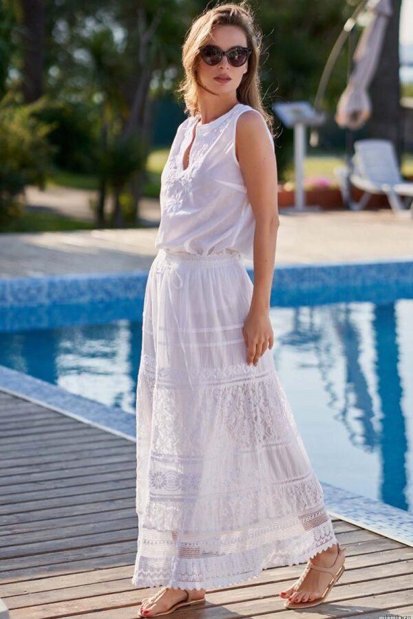 Длинная пляжная юбка с вышивкой