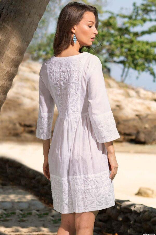 Элегантная короткая кружевная пляжная туника