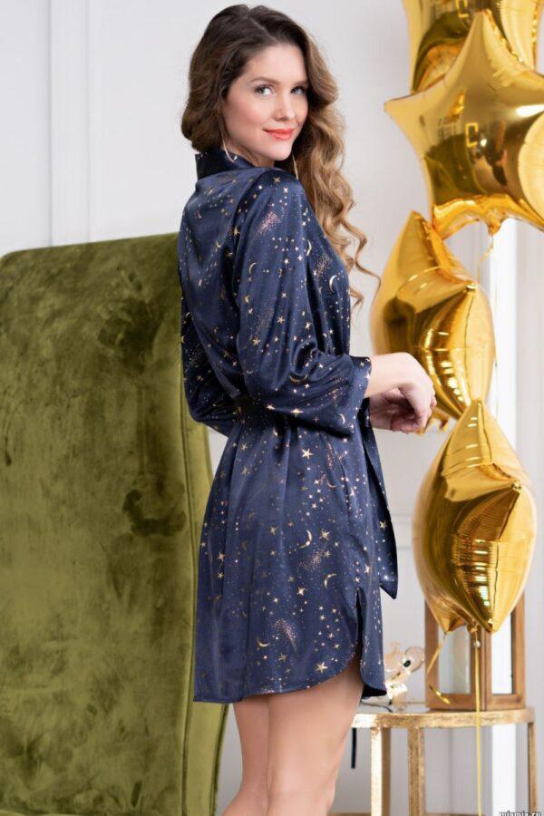 Короткий халат с английским воротником Starlight