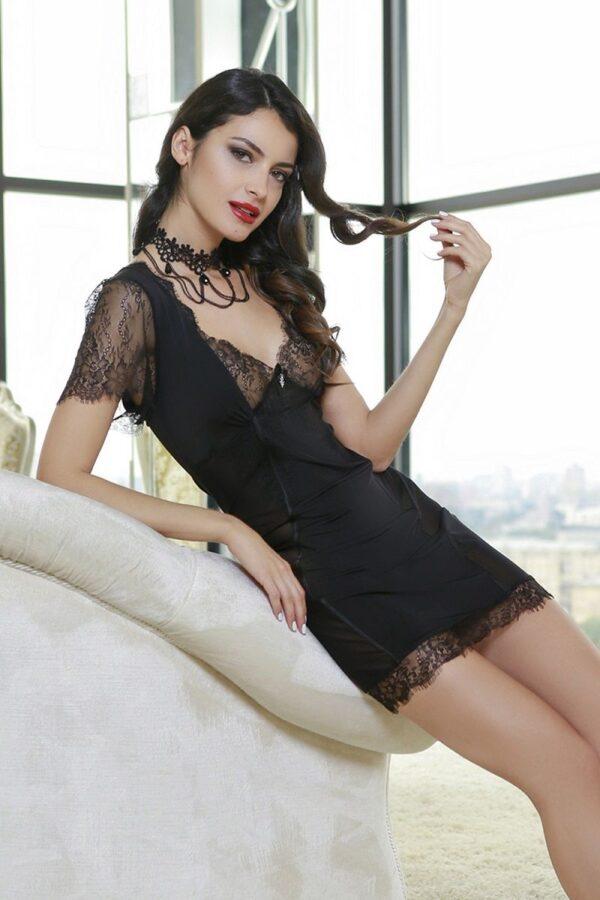 Изысканная сорочка с кружевными рукавчиками Glamour