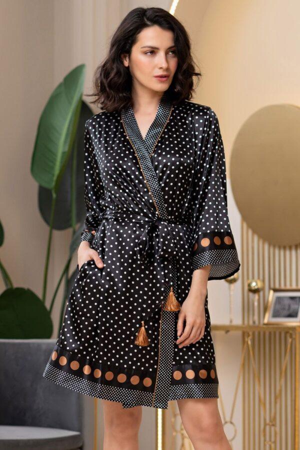 Короткий запашной халат Camilla из искусственного шелка