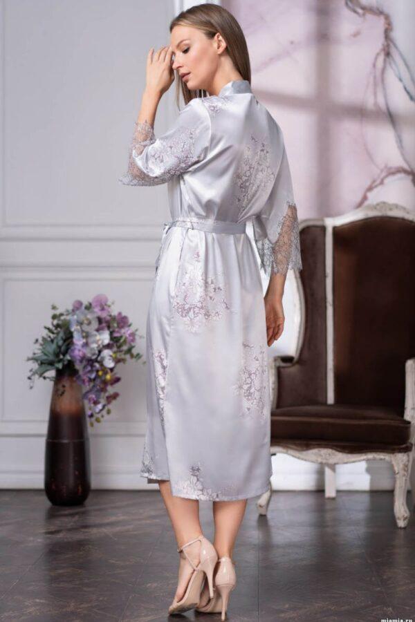 Длинный халат Kelly с кружевными вставками