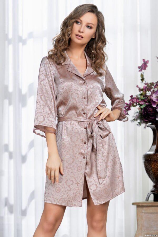 Коротенький халат Margaret из искусственного шелка