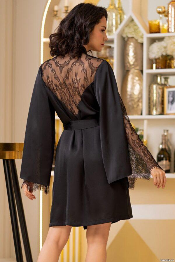 Короткий халат Cornelia из шелковистого искусственного атласа