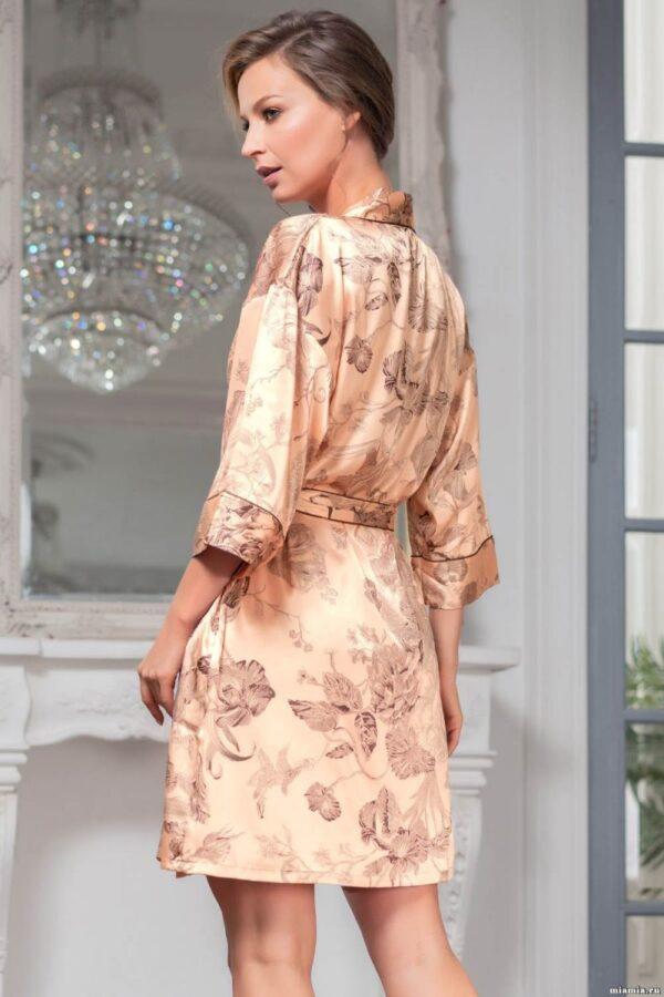 Коротенький шелковый халат-кимоно Letual