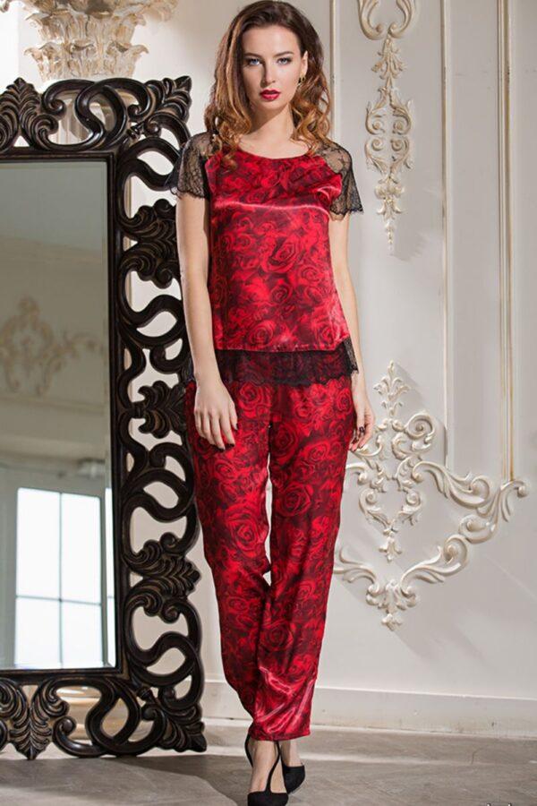 Роскошная шелковая пижама Carmen с цветочным рисунком