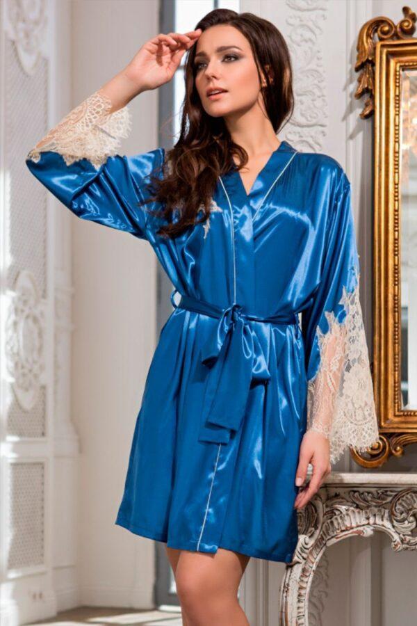 Короткий халат Chantal из шелкового полотна