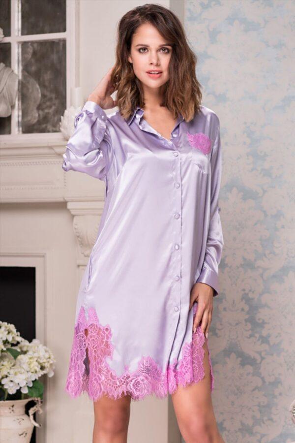 Рубашка-платье Bella с кружевной оторочкой
